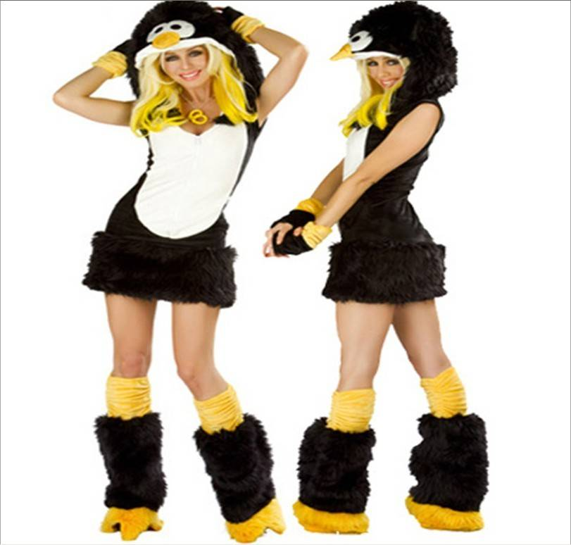 Sexy Cartoon Faux Fur Womens Penguin Furry Raver Costume Complete Set Masquerade