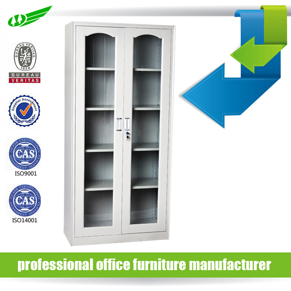 Factory Price office two glass doors metal storage file cabinets with shelves