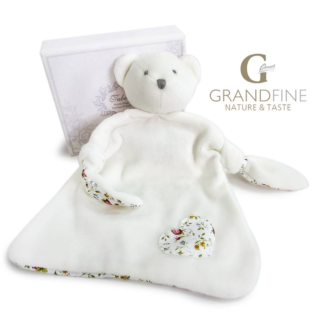 100% cotton white bear baby bib velvet baby comforter My child doll with EN71 test report and CE mar