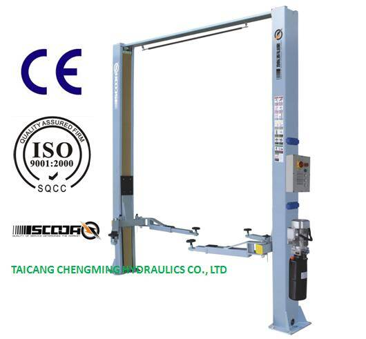 China Electrical Release Clear Floor Two Post Lift with Ce ISO