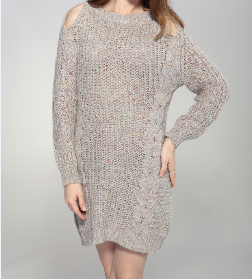 2017 Autumn-Winter Newest Shoulder Disclosed Pure-color Knitted Wool Women Party Dresses
