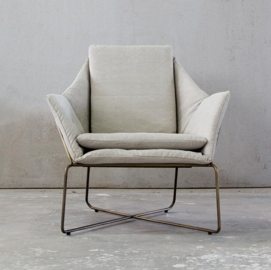 Industrial Style Metal Linen Fabric Living Chair