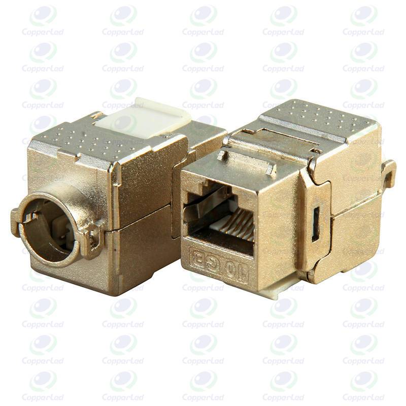 Shielded Golden plated RJ45 Horizontal FTP Cat6A 180 Degree Keystone Jack