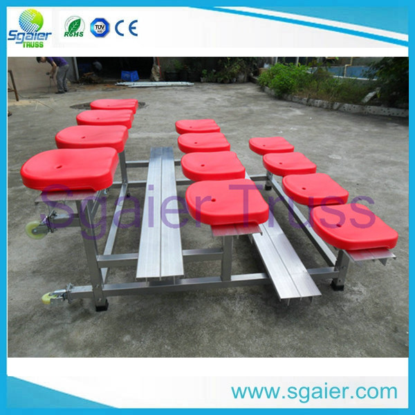 Factory price Aluminum folding bleachers with 12pcs red/blue seats,bleachers
