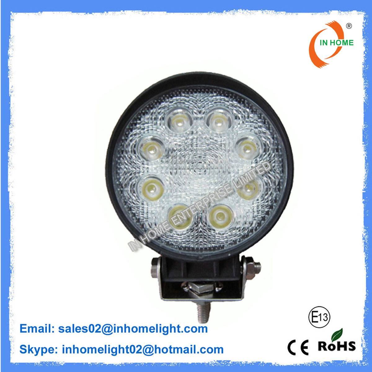 Aluminum 24 Watt Round LED Off Road Lights 2160LM IP67 Work Light LED