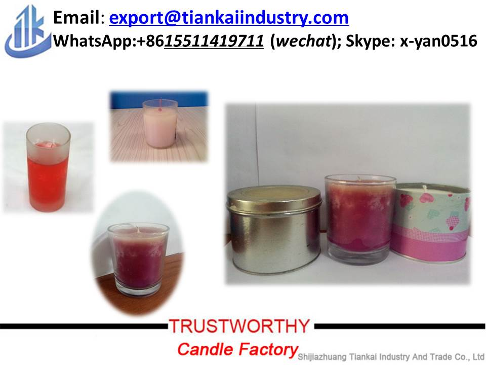 glass/metal/tin jar candle holder paraffin wax candle