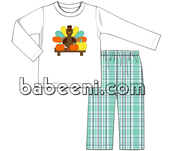 Nice thanksgiving turkey applique outfit for boy - BC 732