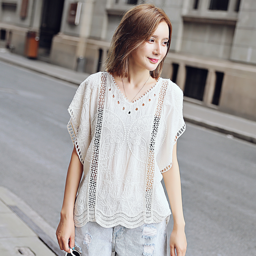 Embroidery Lace Womens Lingerie Lace Holder Belt Embroidered Shirt Top Embroidered Lace Short Sleeve