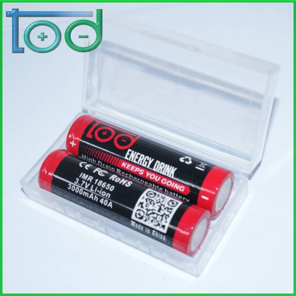 Factory directly sell TOD IMR18650 3000mAh 40A High Drain Rechargeable Li_ion Battery