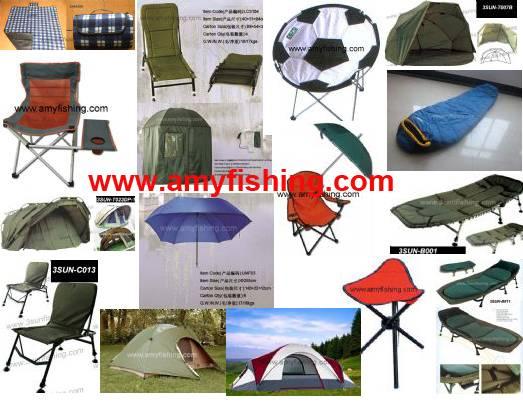 fishing chair, fishing umbrella, bed chair, fishing tent, bivvy, fishing mat, sleeping bags
