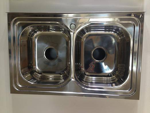Hot selling double bowl polished stainless steel kitchen sink WY-8050D