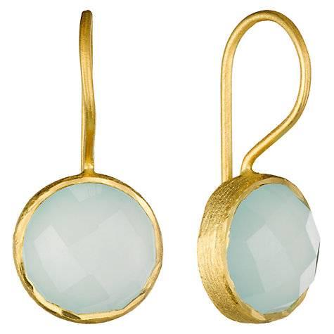 925 sterling silver Aqua Chalcedony Gemstone Earring-Vermeil Gold