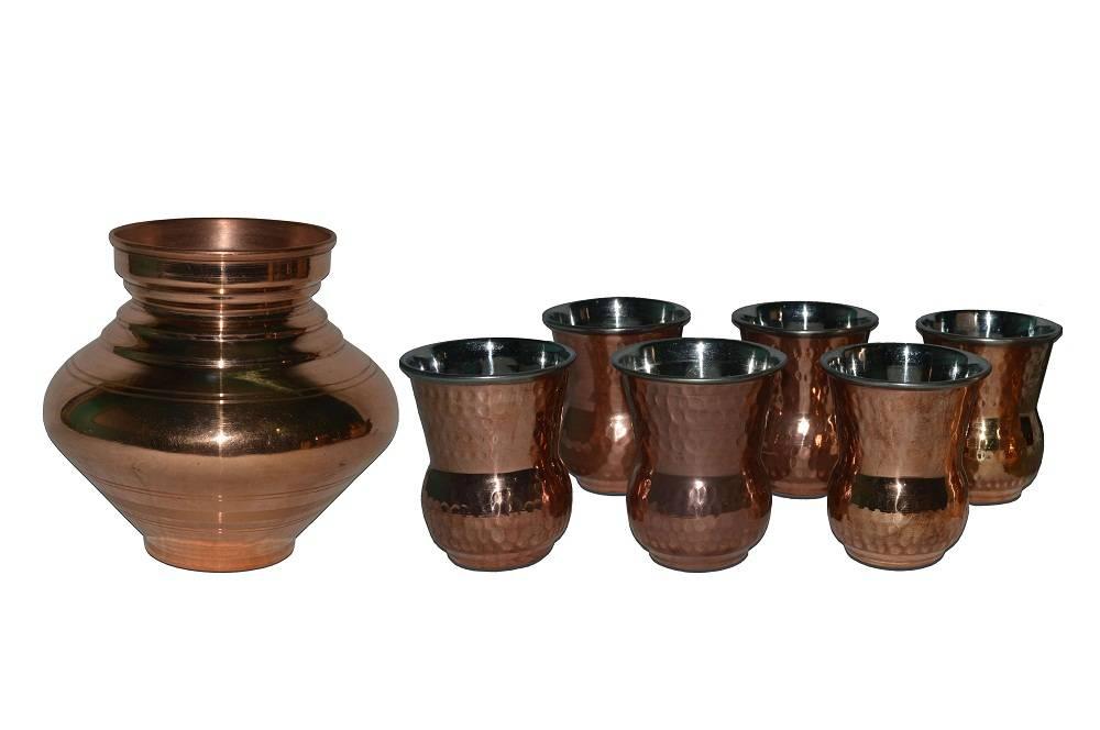 Raghav India 100% Genuine Copper Matka + 6 Copper Punjabi  Glasses Combo Set