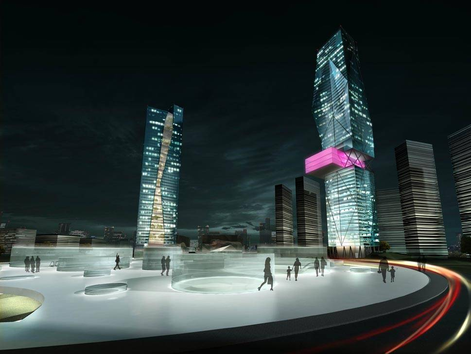 Architectural Rendering--Twin Building