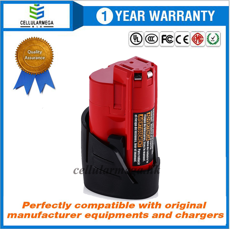 12V 2500mAh Lithium-ion Replacement Battery for Milwaukee M12 Milwaukee 48-11-2411 REDLITHIUM 12-Vol
