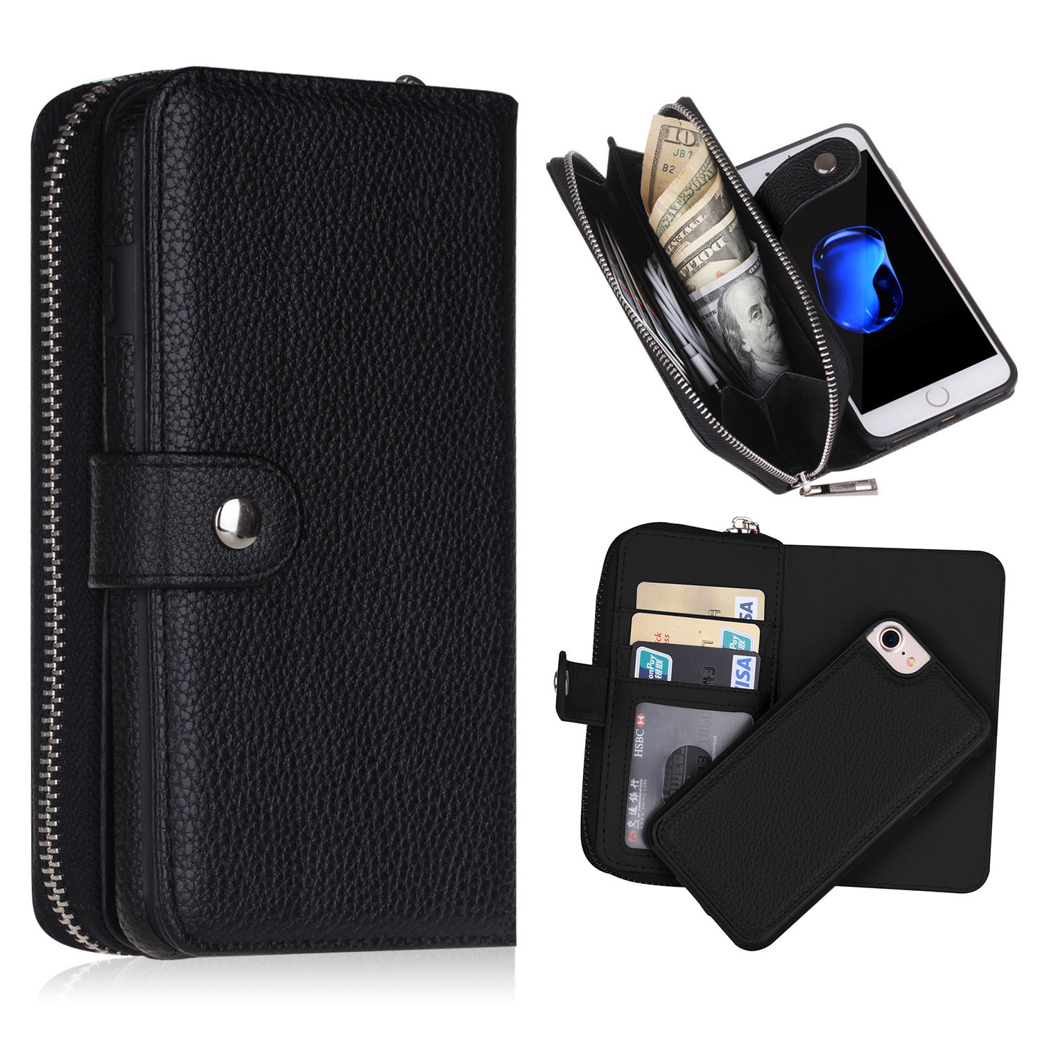 iPhone 7 multiwallet leather case+detachable smart phone case