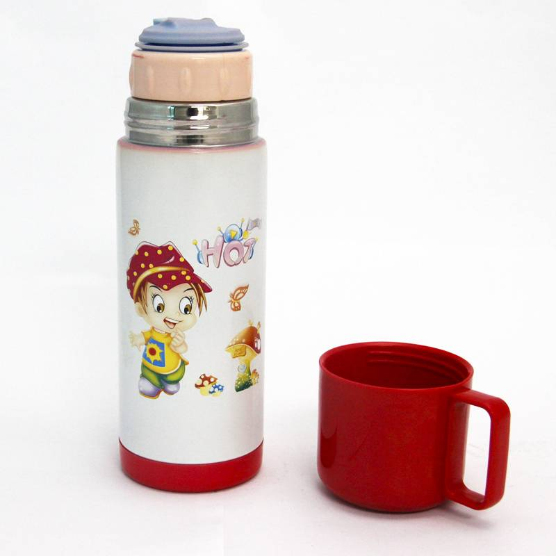 Stainless steel vacuum flask with handle