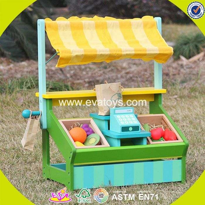 2017 New design funny fruit play set wooden kids supermarket W10A060