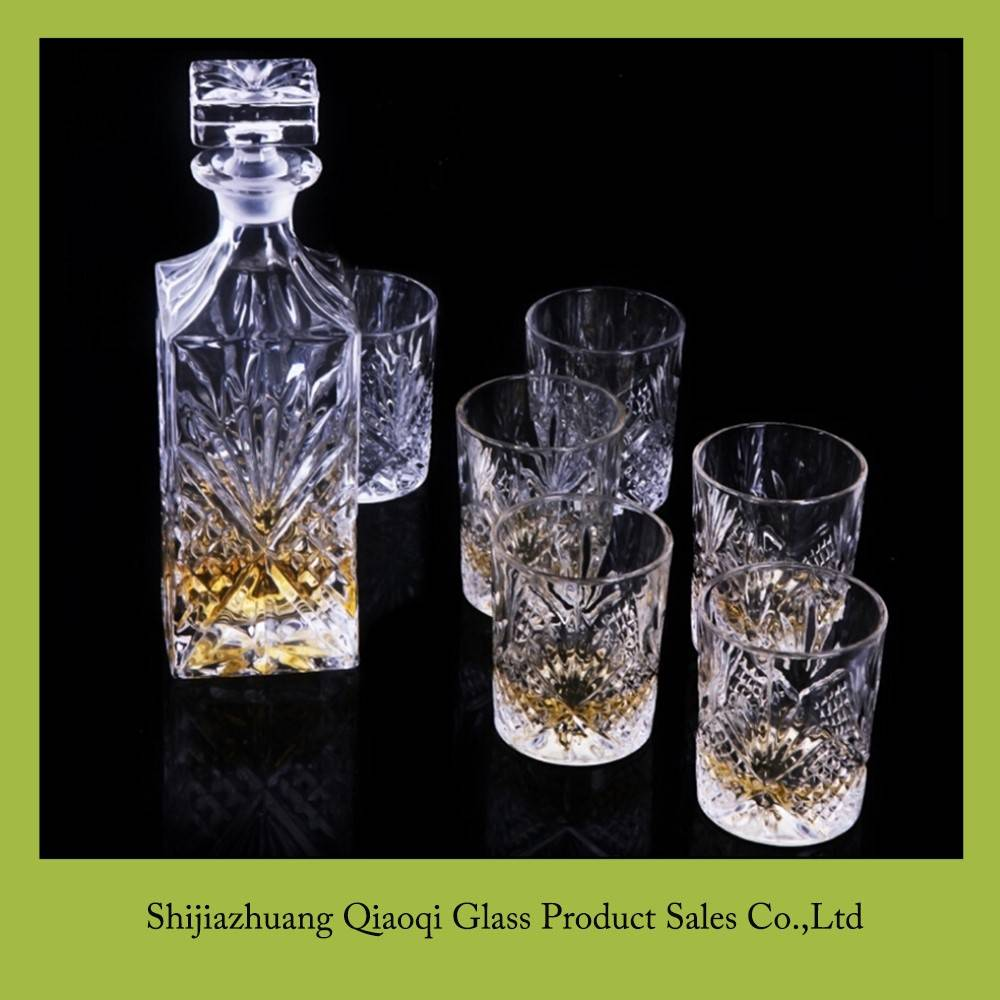 Hot sale promotion wholesale crystal decanter set for whiskey