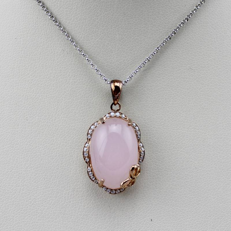 18k Rose Gold Plated with Rose Quartz Pendant (PSJ0260)