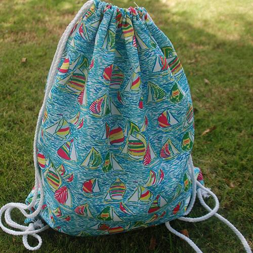 6 Colors Print Cotton Drawstring Gym Bag Backpacks