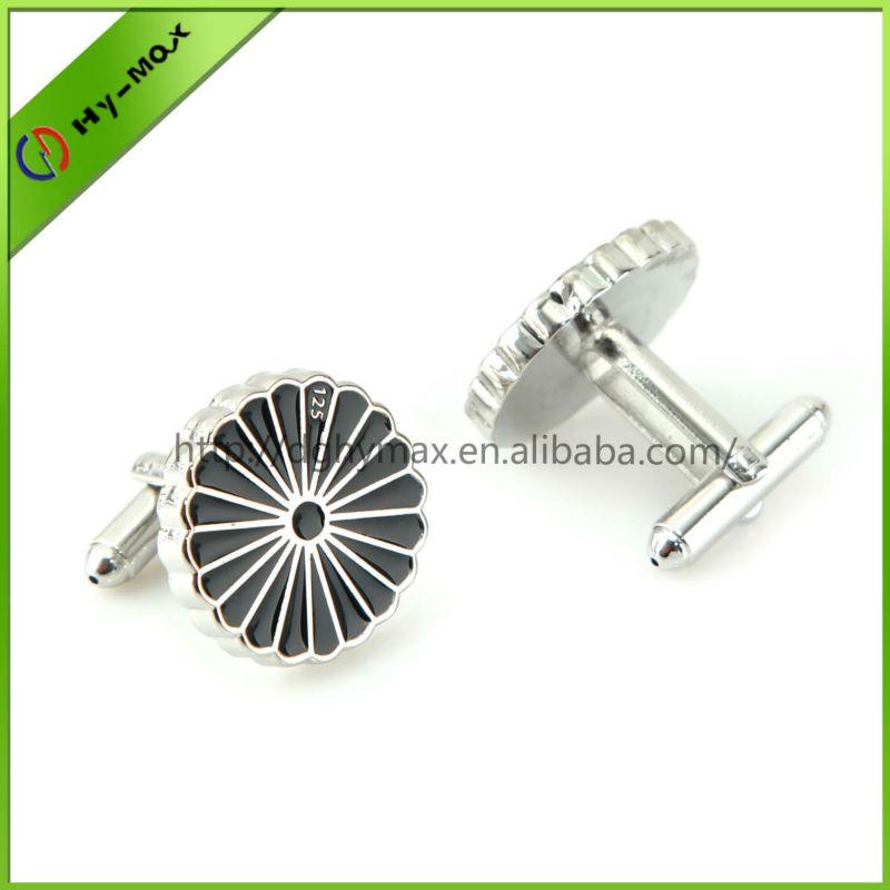 high quality round chrysanthemum brass silver plating cufflinks