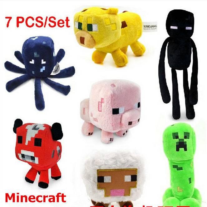 High Quality Minecraft Plush toys Cartoon Minecraft Dolls Enderman Creeper Bull Pig Squid and Leopar