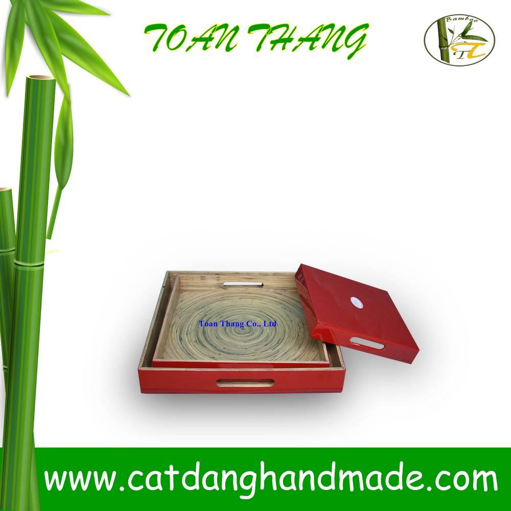Vietnam set of 3 ractangular trays with handle hole, eco-friendly bamboo tray(Skype: jendamy, whatsa