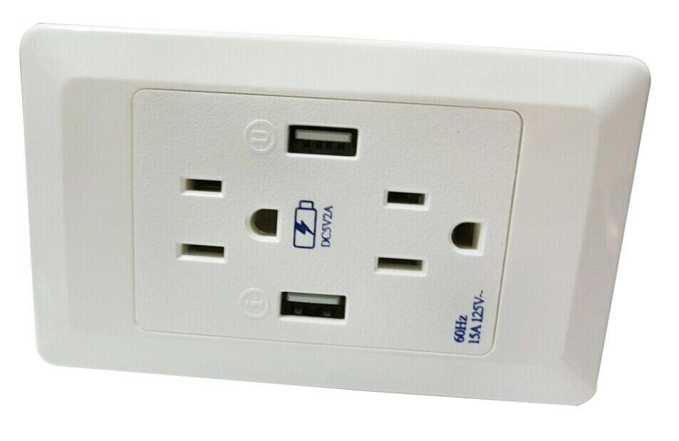 Made in China switch port factory supply 2 usb PC material USA usb wall socket