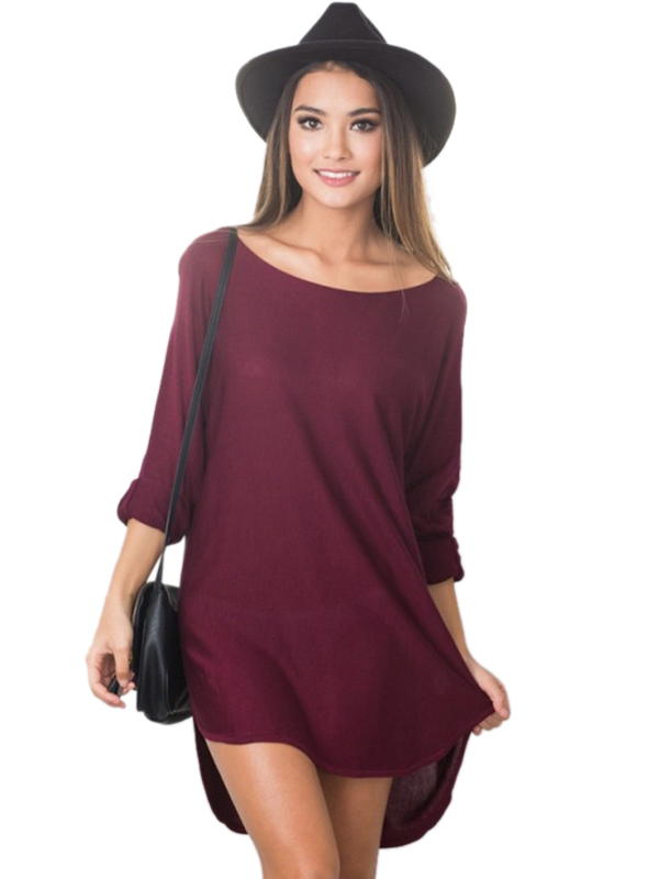 Spring Autumn Casual Women Solid O-Neck Long Sleeve Asymmetrical Dress WT33066
