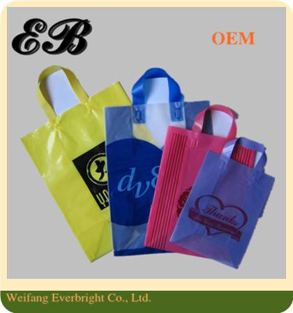 Customized Shopping Printing Tri-folded Flat Tape Handle Plastic/PE Packaging Bag