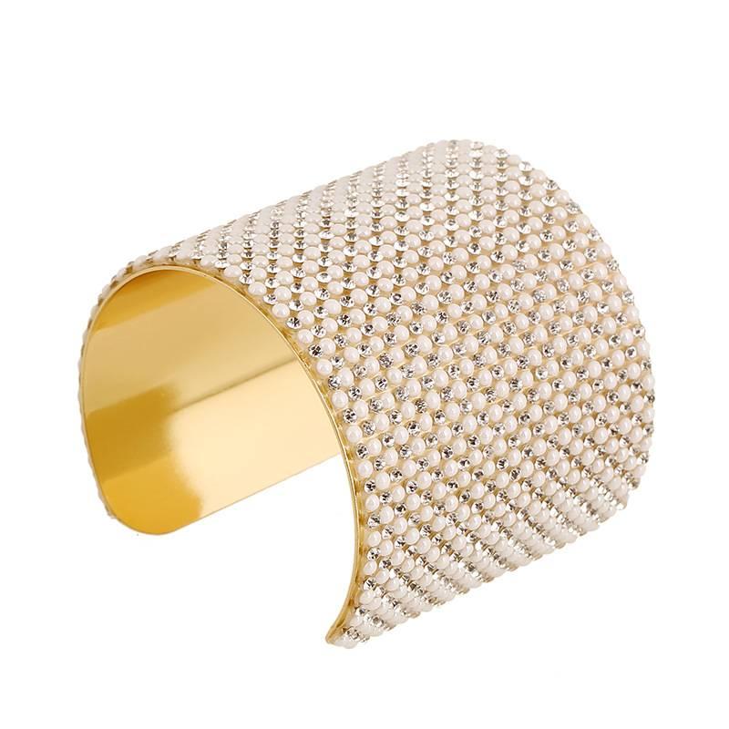 Fashion Women Gold Alloy Pearl Crystal Wide Open Bracelet Bangle