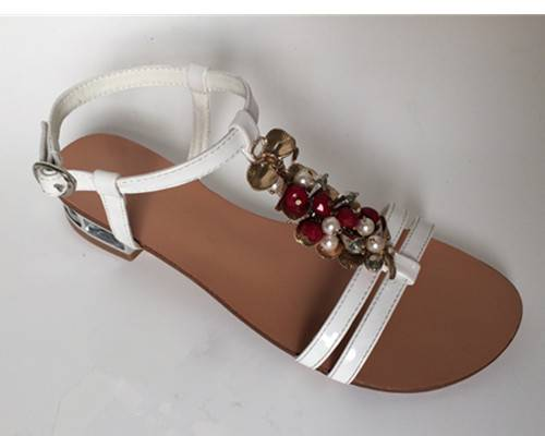 latest pu sandal with beading and pearl