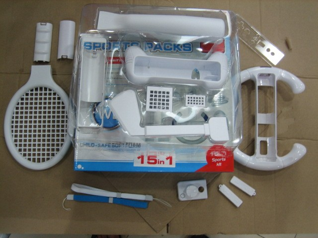 Game accessory 15 in 1 Multi Game Sports Pack Kit For Nintendo wii