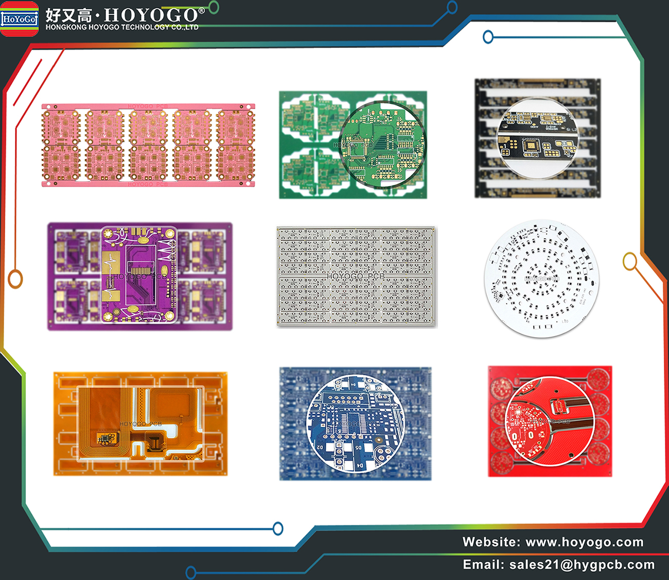 Pink, Purple, Yellow, Green, Gray, Blue, Black, White, Red solder mask PCB