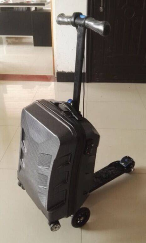 electric scooter suitcase, motorised luggage case, scooter trolley case