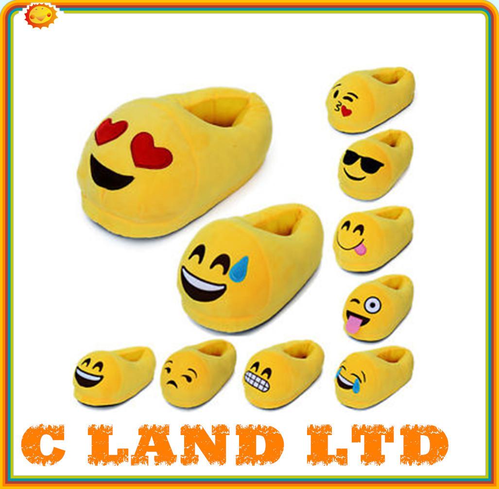 plush emoji slipper