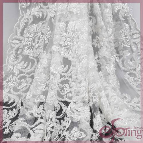 White bridal beaded lace fabric, mesh embroidery design fabric