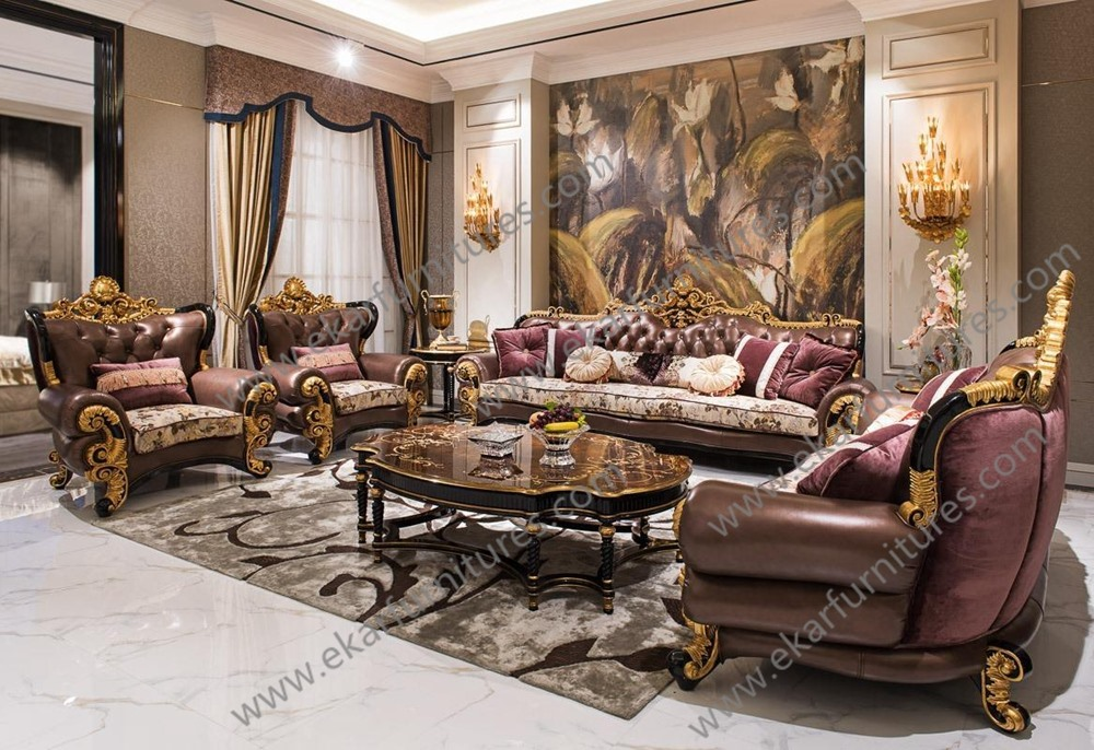 Antique Classic Latest Designs 2017 Furniture Living Room Leather Sofa Set