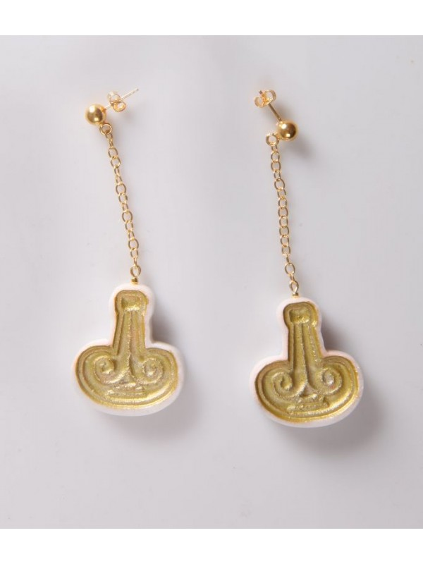 Earings Aries from Pentelic marble beads Pentelic marble and gold K14