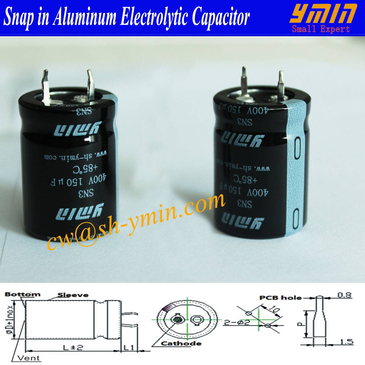 Low LC Capacitor Snap in Electrolytic Capacitor for AC Power Inverter