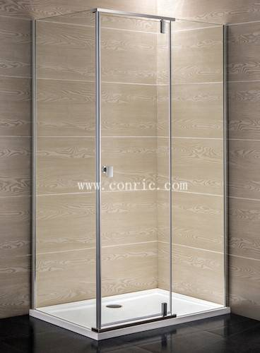 Rectangle-shape Frameless aluminum hinged shower door