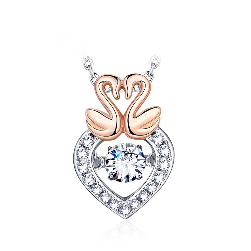 Swan love female pendant 925 silver necklace