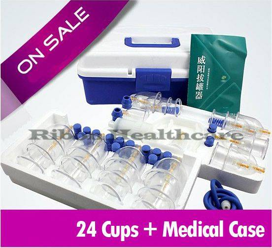 Tradtional Chinese Vacuum Cupping Set Body Suction Cupping With Magnetic Treatment 24 Cups +Free Med