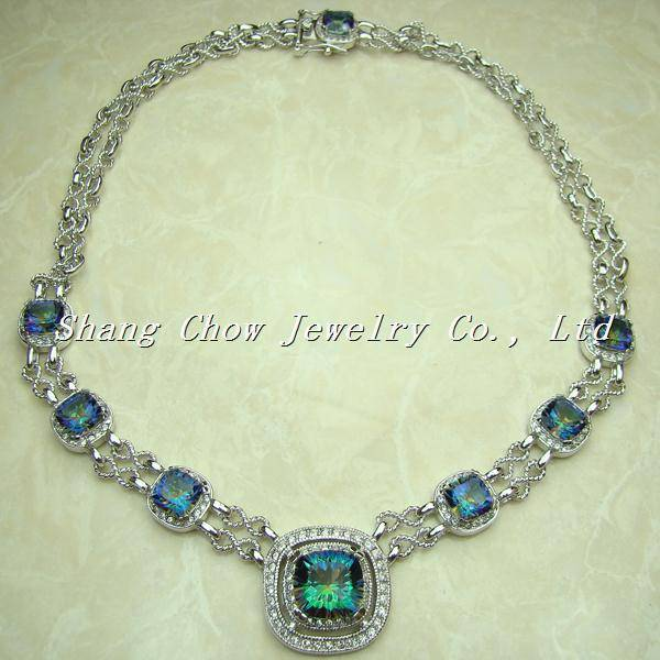 Mystic Topaz 925 Sterling silver Gemstone Necklace