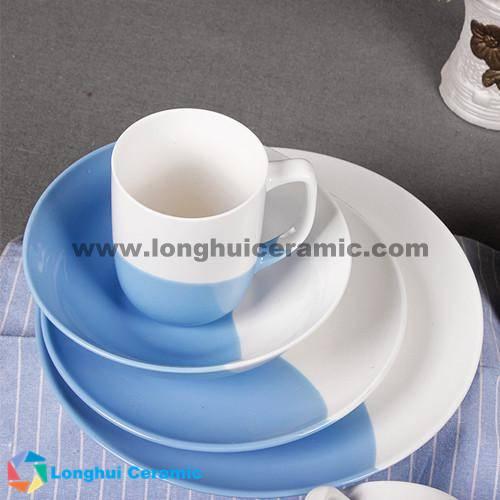 4pcs bicolor pure glazed ceramic dinner set