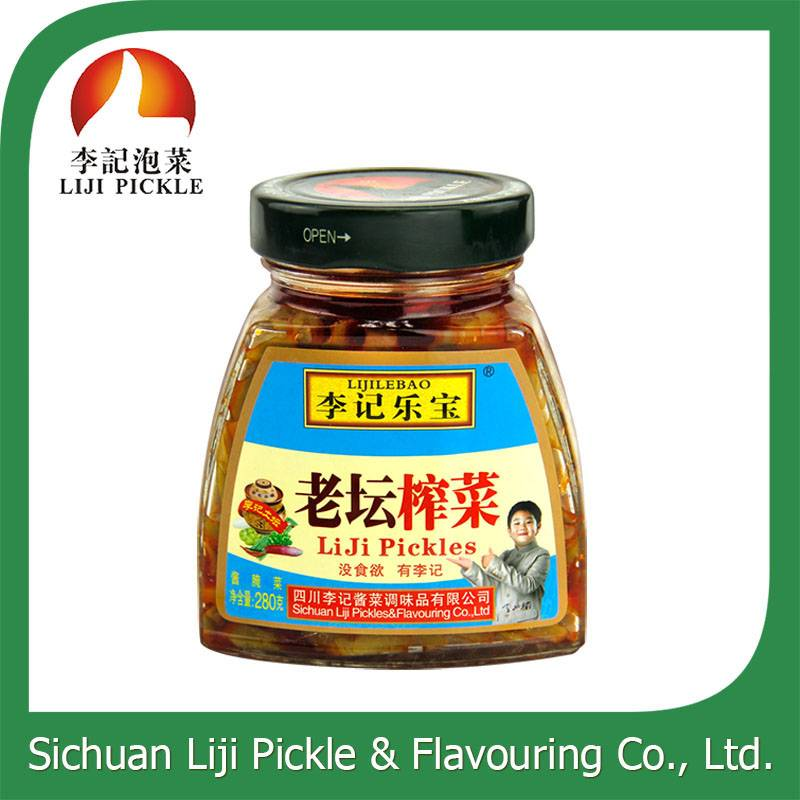 wholesale wholesale pickle, healthy 280g pickle in glass bottle, Chineses famous brand pickle