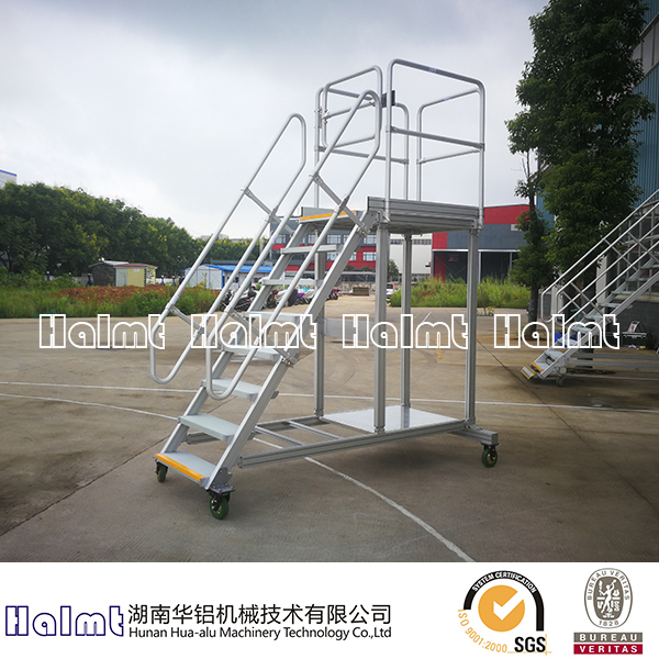 Industrial Aluminum Platform Ladders with Hand Rails