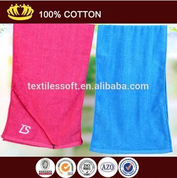 wholesale 100% cotton plain soft zip pocket custom embroidery logo promotional sport towel