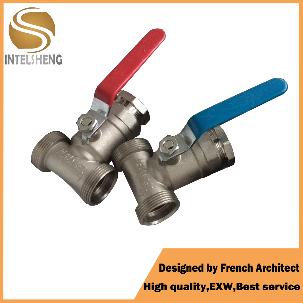 Female Male Thread T type handle Brass three ball valve